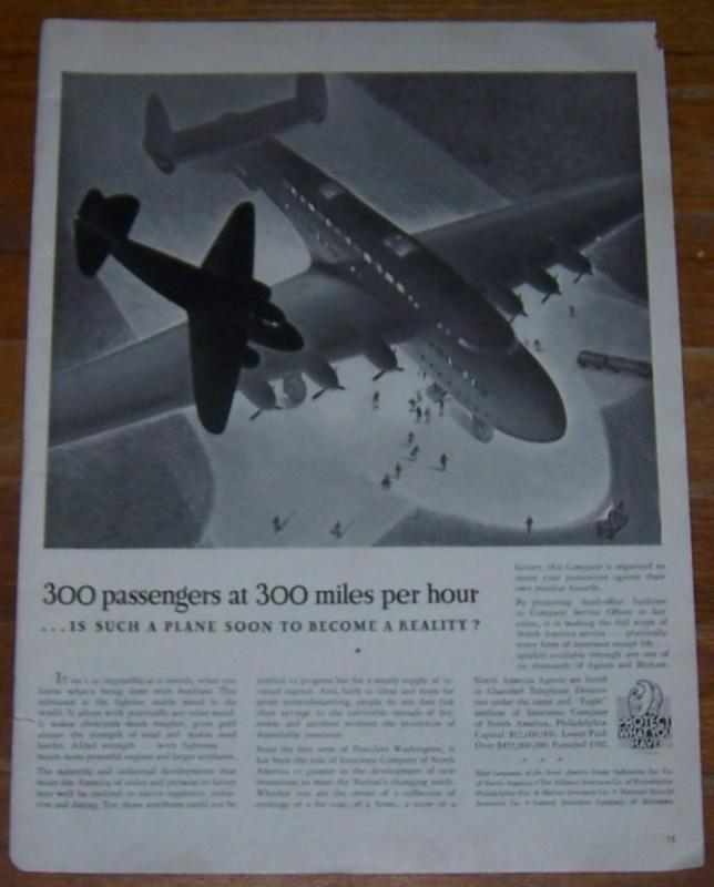 1941 WW II Insurance Company of North America Life Magazine Advertisement