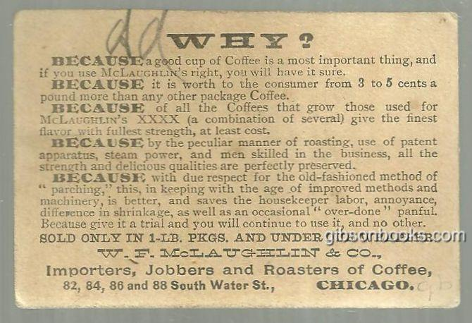 Victorian Trade Card for McLaughlin's Coffee with Two Old Ladies Enjoying Coffee