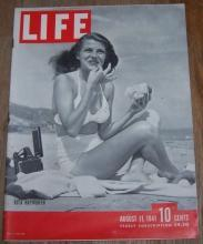 Life Magazine August 11, 1941 Rita Hayworth on Cover/Bismark/Farming/Tennis