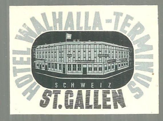 Vintage Souvenir Decal Hotel Walhalla-Terminus, St. Gallen, Switzerland