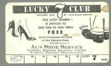 Vintage Lucky 7 Card for Al's Shoe Service, Natrona Heights, Pennsylvania