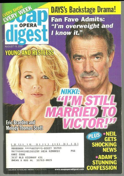 Soap Opera Digest August 19, 2008 YR Nikki and Victor Still Married on Cover