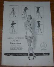 1947 Kayser Fit-All Proportions Nylons Life Magazine Advertisement
