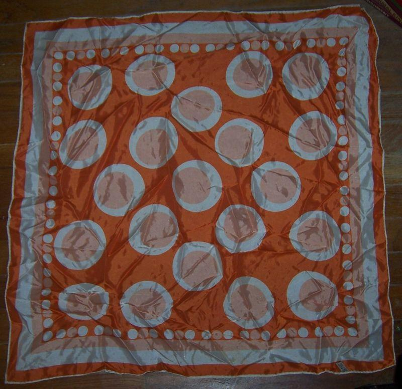 Vintage Bright Orange and White Scarf with Polka Dots Made in Japan