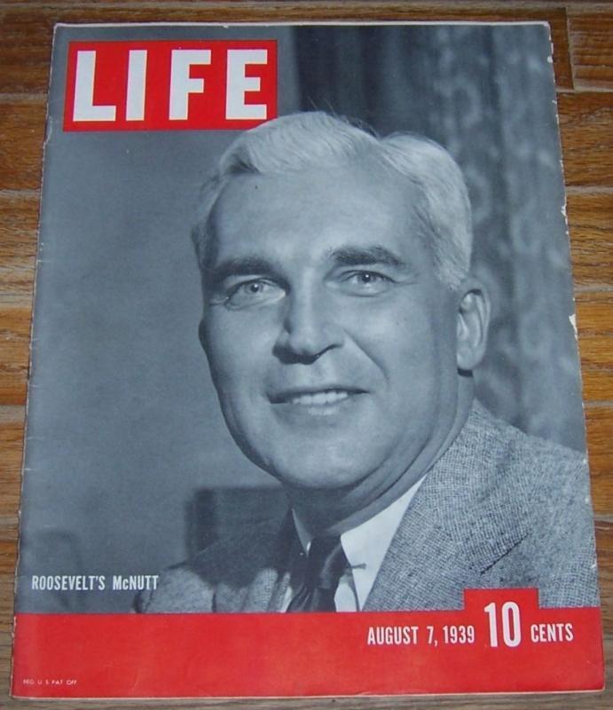 Life Magazine August 7, 1939 Roosevelt's McNutt on cover/New York World's Fair
