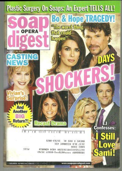 Soap Opera Digest August 18, 2009 Days Shockers on the Cover/Springfield