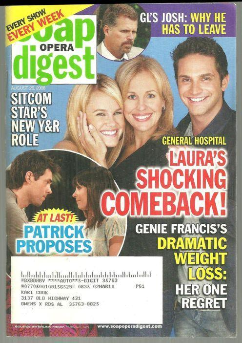Soap Opera Digest August 28, 2008 General Hospital, Laura's Shocking Comeback