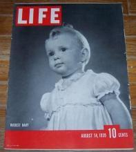 Life Magazine August 14, 1939 Busiest Baby on cover/US Army/Albanians/Gambling