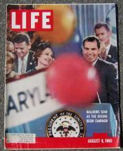 Life Magazine August 8, 1960 Nixons Begin Campaign on cover/Gina Lollabrigida