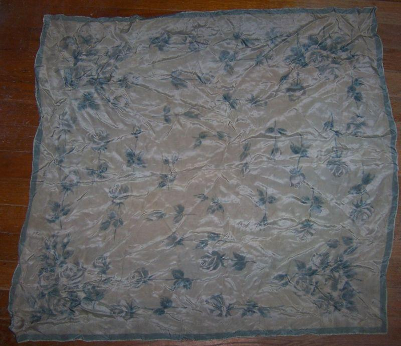 Vintage Square Scarf with Blue Roses on Light Grey Background and Blue Border