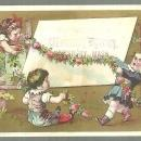 Victorian Trade Card for Johnson's Circulating Library with Children and Garland