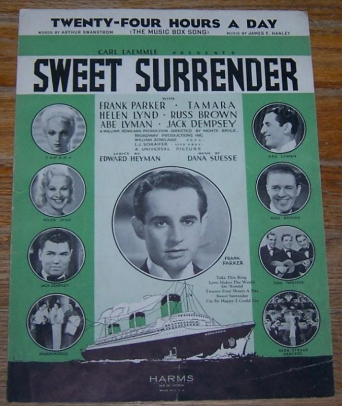 Twenty-Four Hours a Day (The Music Box Song) From Sweet Surrender 1935 Music