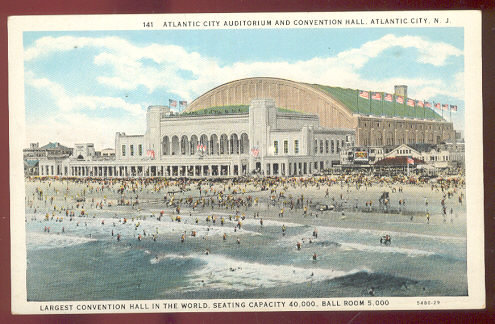 Atlantic City Auditorium and Convention Hall New Jersey Postcard