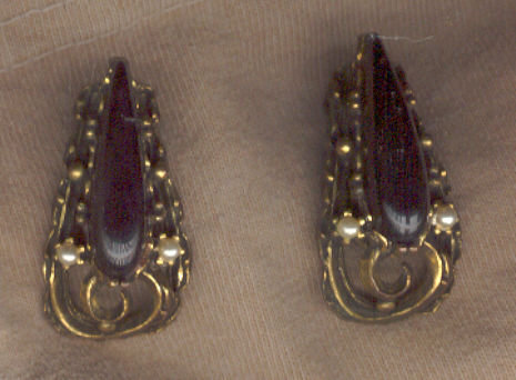 Pair of Vintage Black Clip On Earrings