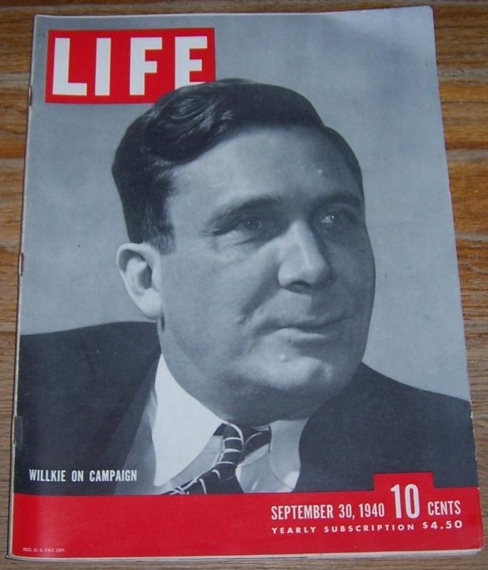 Life Magazine September 30, 1940 Willkie on Campaign on cover/London Bombing