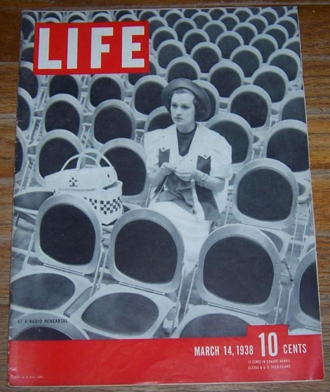 Life Magazine March 14, 1938 Jane Froman at a Radio Rehearsal on the Cover