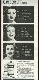 1943 World War II Joan Bennett Calox Advertisement