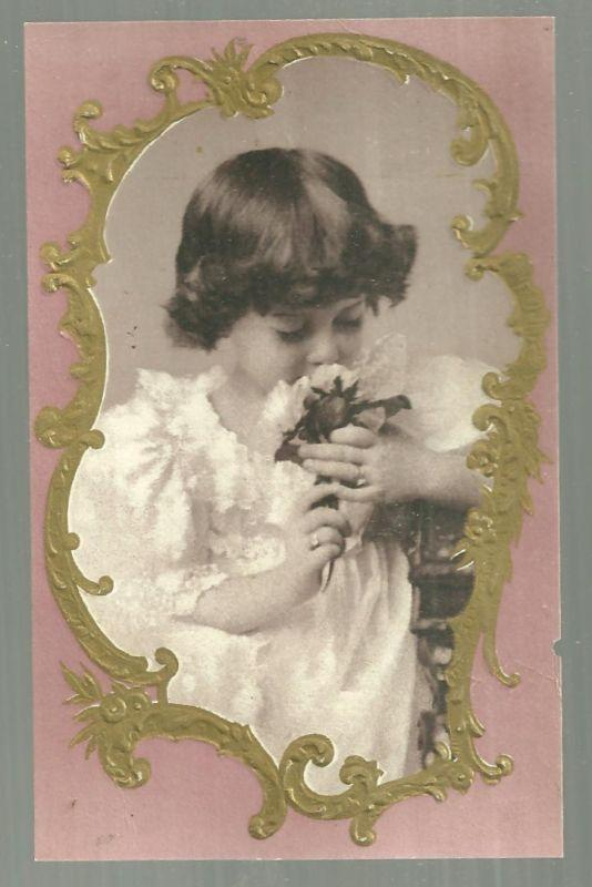 Victorian Trade Card For Woolson Spice Co with Beautiful Girl Sniffing Flowers