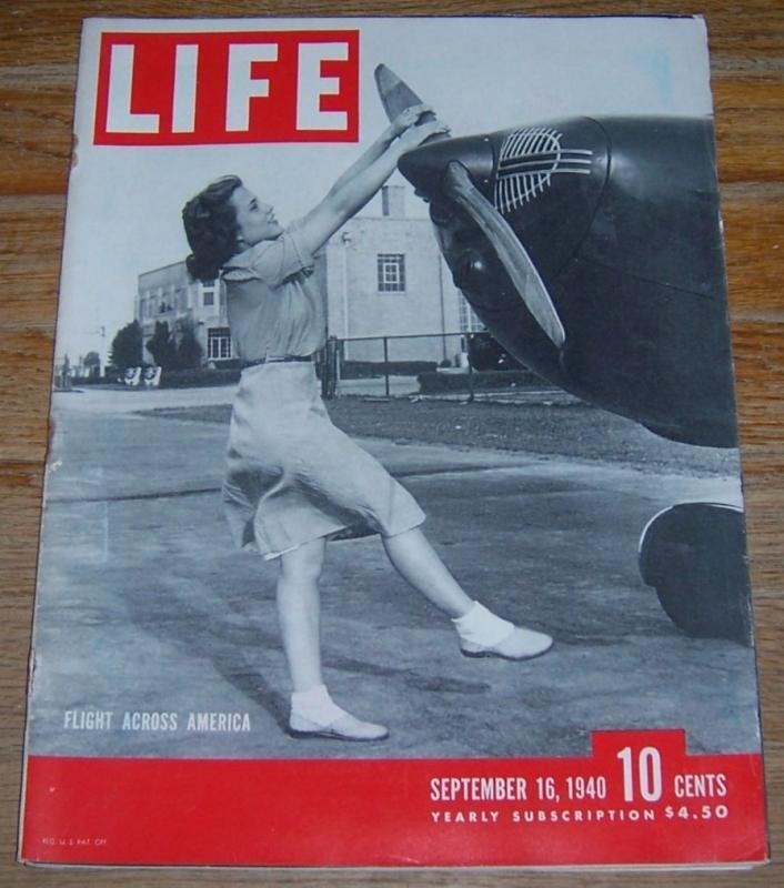 Life Magazine September 16, 1940 Flight Across America on cover/Paris/The Heart