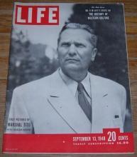Life Magazine September 13, 1948 First Pictures of Marshal Tito on cover/Rivera