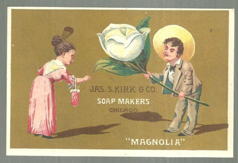 Victorian Trade Card For Jas. S. Kirk Soap Makers with Man Handing Lady Magnolia