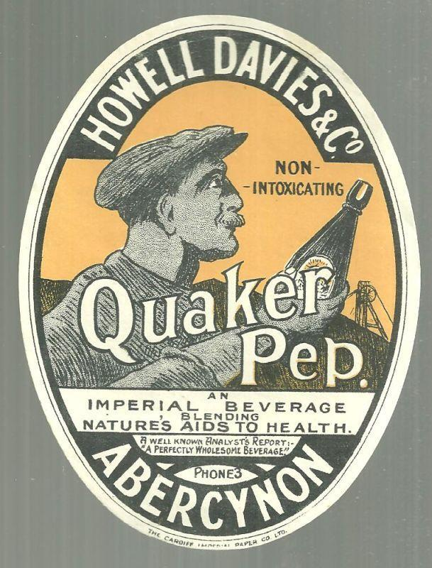Vintage Quaker Pep Label, Howell Davies, Abercynon, Wales