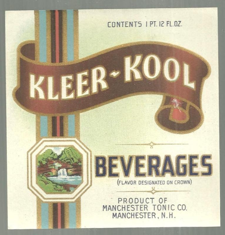 Vintage Kleer-Kool Beverages Label, Manchester Tonic, New Hampshire