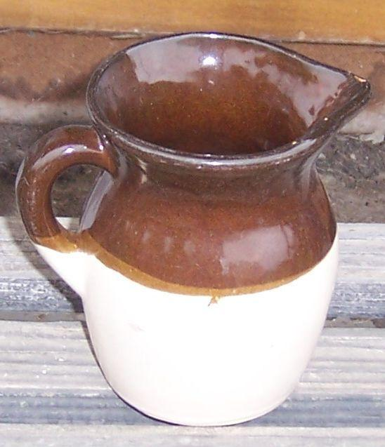 Vintage Robinson Ransbottom Pottery Milk Jug with Brown and White Glaze