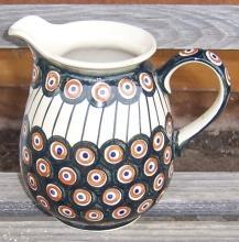 Vintage Pottery Milk Jug with Blue and Orange Polka Dots