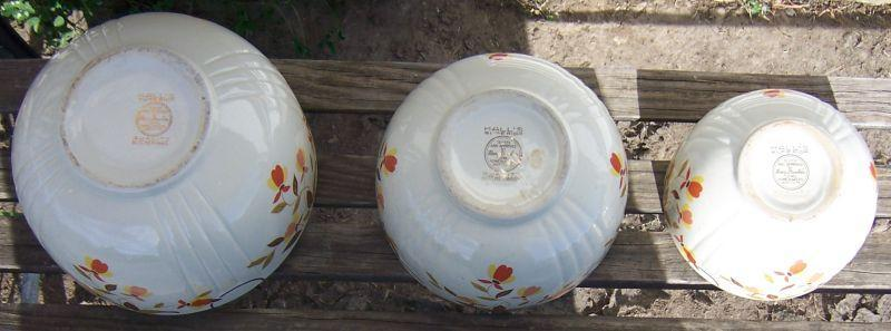 Vintage Hall China Jewel Tea Autumn Leaf Three Piece Mixing Bowl Set