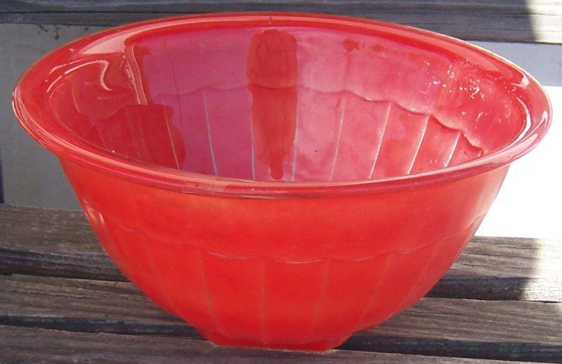 Vintage Glass Large Mixing Bowl with Red Fired On Glaze and Square Bottom