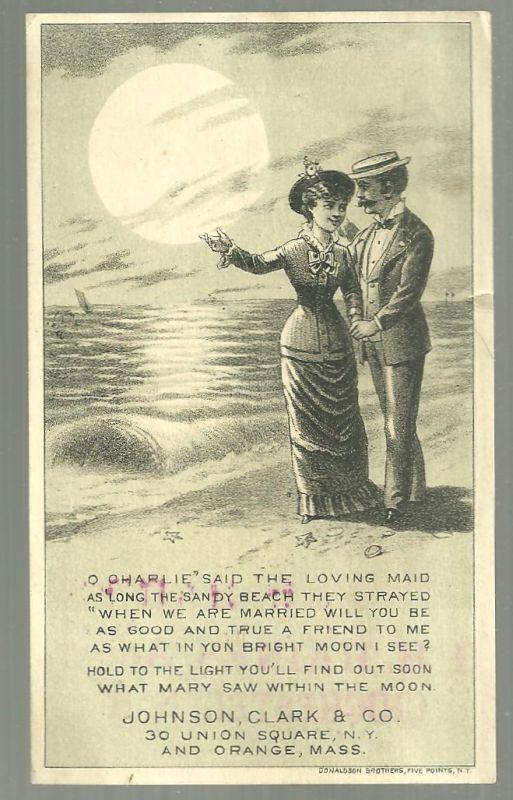 Victorian Trade Card New Home Sewing Machine with Couple and Hold to Light Moon