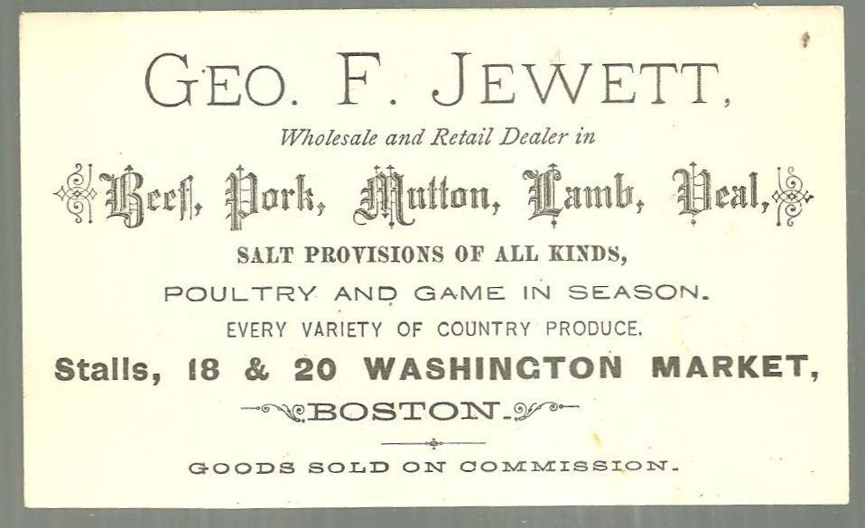 Victorian Trade Card for Geo. J. Jewett Dealer in Beef, Pork, Mutton, Lamb, Veal