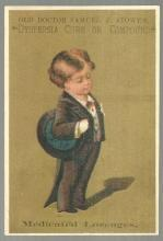 Victorian Card for Old Doctor Samuel Stowe's Dyspepsia Cure With Boy in Tuxedo
