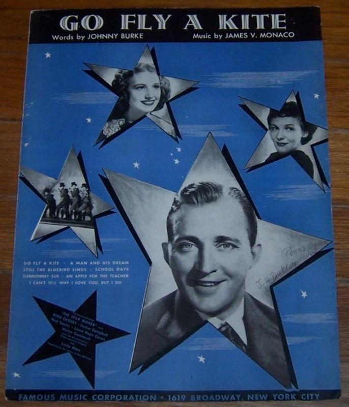 Go Fly a Kite From The Star Maker starring Bing Crosby 1939 Sheet Music