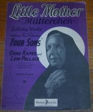 Little Mother (Mutterchen) Lullaby Waltz From Four Sons 1928 Sheet Music