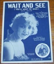 Wait and See (You'll Want Me Back) Waltz Ballad Constance Talmadge 1919 Music
