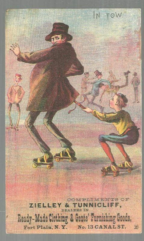 Victorian Trade Card for Zielley and Tunnicliff Clothing With Ice Skaters