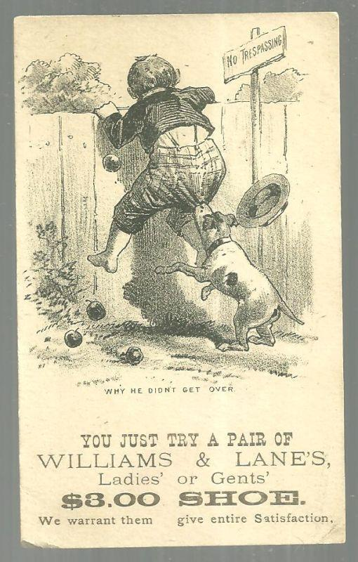Victorian Trade Card for Williams and Lane's 3.00 Shoe With Boy Climbing Fence