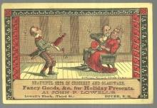 Victorian Trade Card John F. Lowell's Fancy Goods with Courting Couple