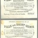 Lot of Two Victorian Trade Cards for Ville de Saint Denis, Paris with Deer