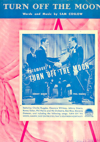 Turn Off the Moon Kenny Baker and Phil Harris 1937 Sheet Music