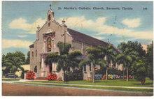 St. Martha's Catholic Church, Sarasota, Florida 1963 Postcard