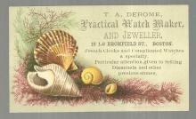 Victorian Trade Card for T. A. Derome, Practical Watch Maker with Sea Shells