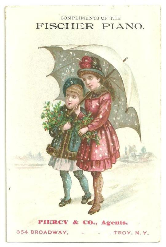Victorian Trade Card for Fischer Piano with Girls Under Umbrella with Snow