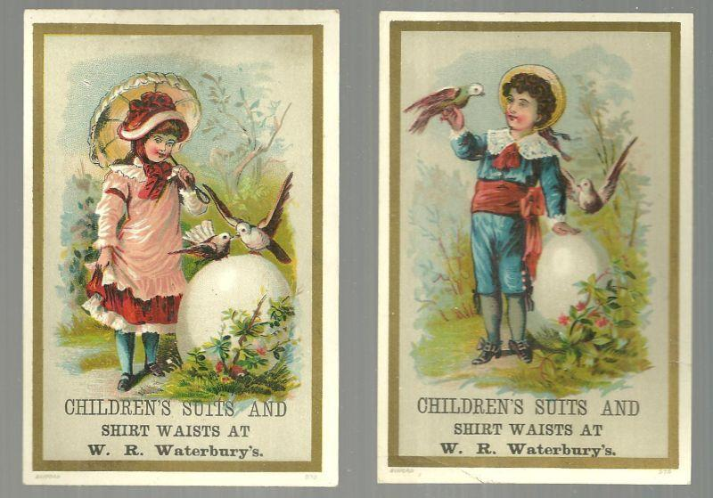 Lot of Two Victorian Trade Cards for W. R. Waterbury's With Boy and Girl