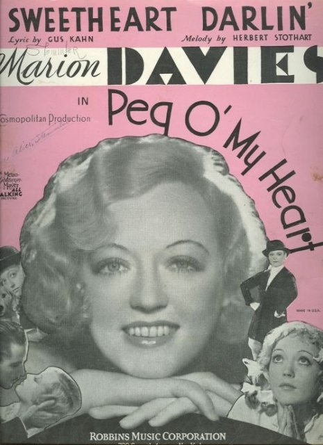 Sweetheart Darling Marion Davies in Peg O My Heart 1933 Sheet music