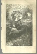 Lydia Ashleigh Reading Book on Riverbank Print from 1876 Peterson's Magazine