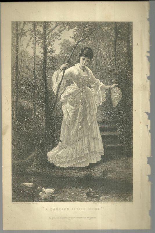 Antique Darling Little Duck Engraved Print from 1876 Peterson's Magazine