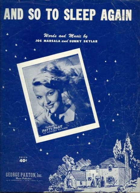 And So To Sleep Again Patti Page 1951 Sheet Music